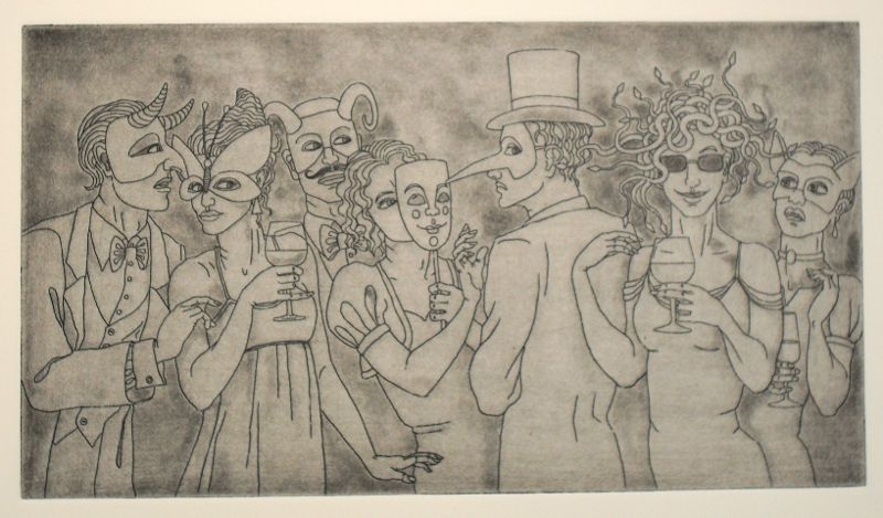 First print from 'Is she or isn't she' - Medusa at a drinks party