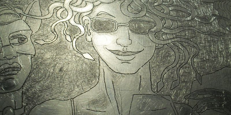 Detail of the drypoint over the original etched plate
