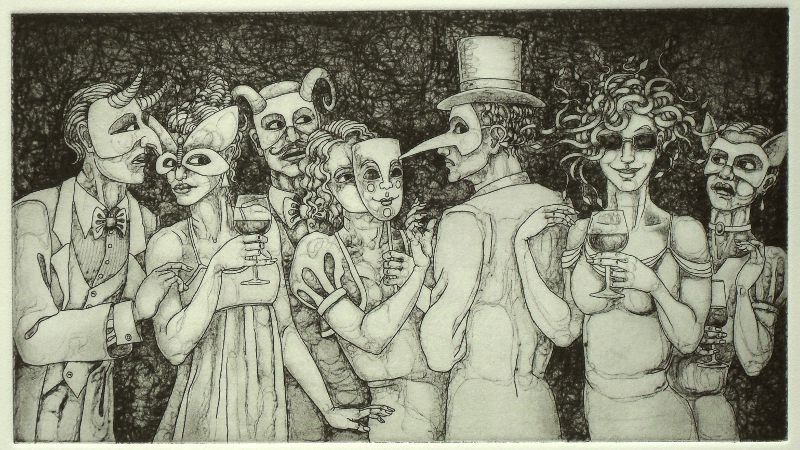 Medusa at a cocktail party in etching and drypoint