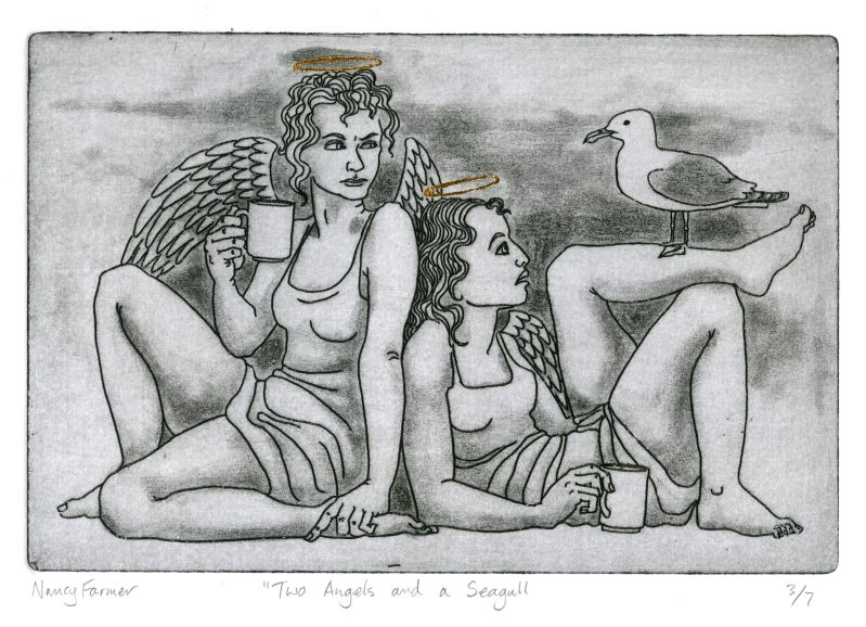 Etching: Two Angels and a Seagull