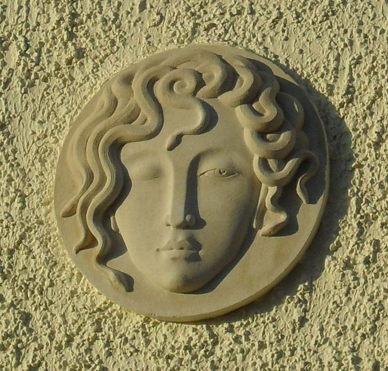 Medusa - carving by Tom Clarke, in Portland Stone, from a sketch by Nancy Farmer