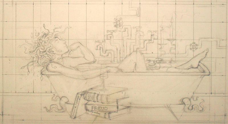 sketch: Medusa in the bathtub