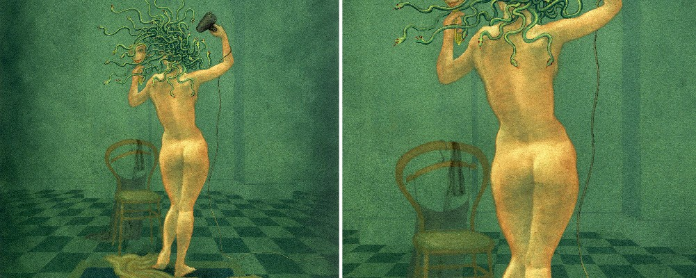 Medusa and the Hairdryer - painting in gouache by Nancy Farmer