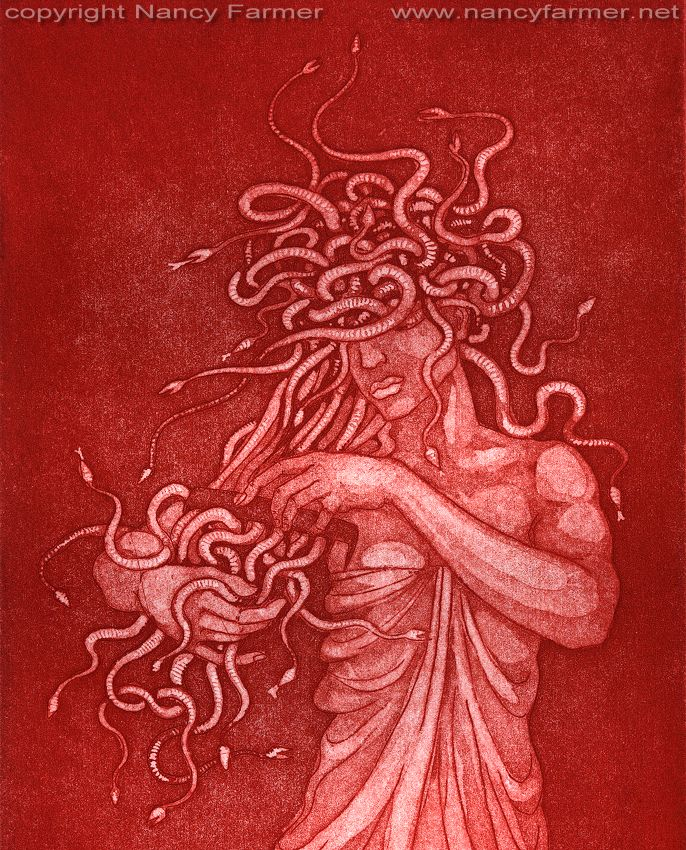 Medusa's Comb - etching print, detail