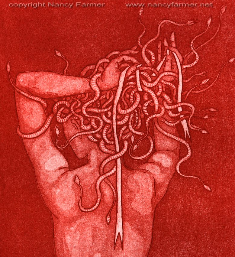 Medusa's Ribbon - etching print, detail