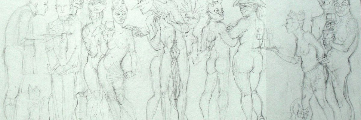 sketch for a naked masquerade scene, in pencil