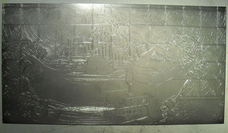 Drypoint on aluminium - the plate for 'Medusa in the Bath'