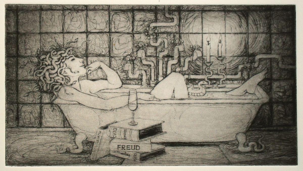 Medusa in the Bath - drypoint print