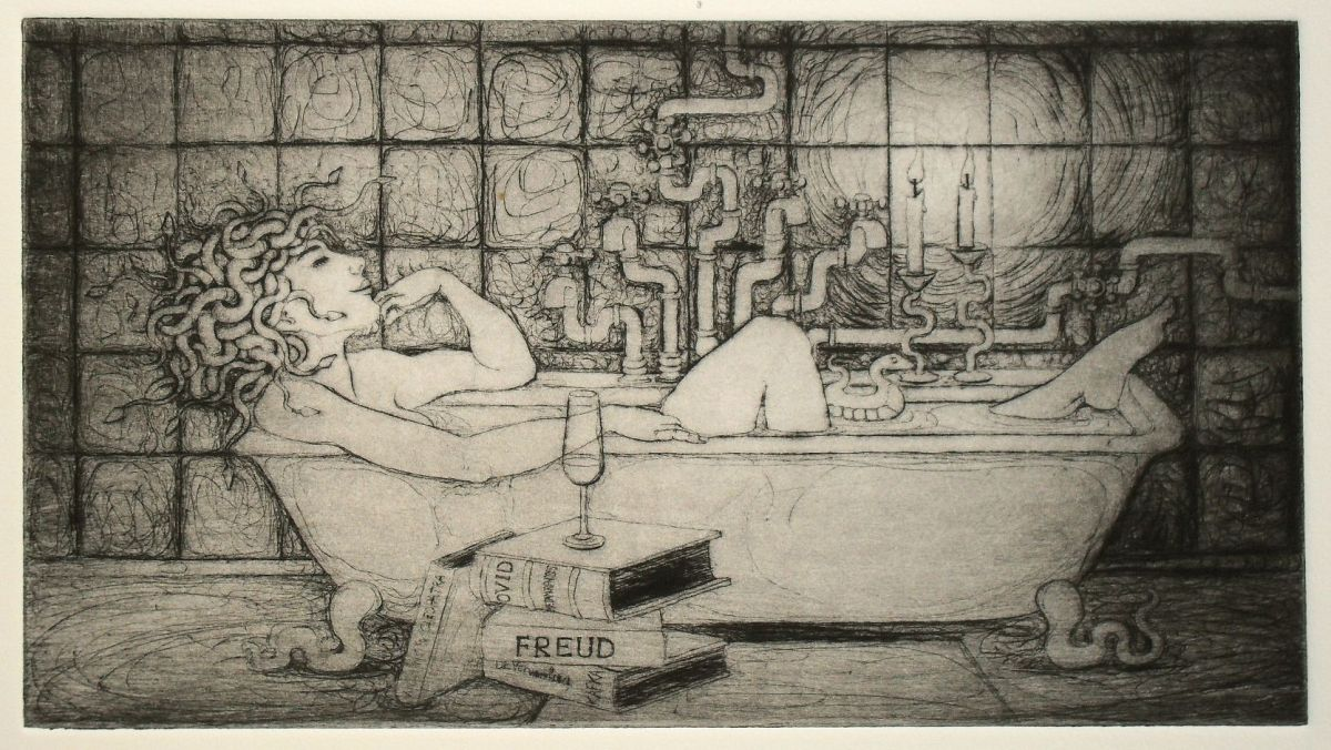 Medusa in the Bath - drypoint print
