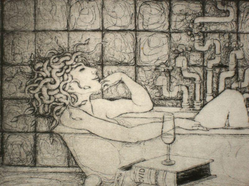 Medusa in the Bath (detail) - drypoint print