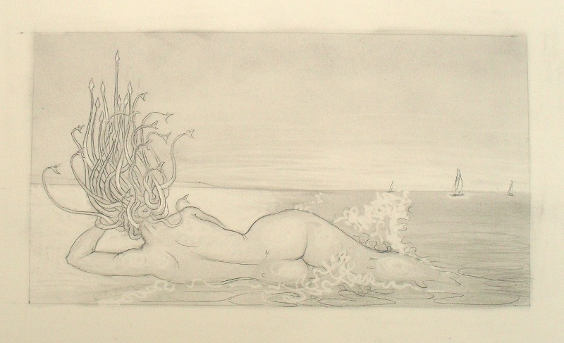 Sketch for Hydrophobia, or Medusa at the Beach