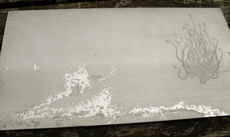 Aluminum plate after etching but before extensive burnishing and drypoint