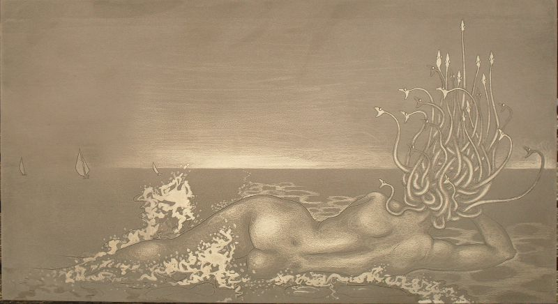 Hydrophobia - Medusa at the Beach - aluminium plate before printing
