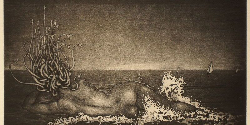 Hydrophobia: Medusa on the beach - etching print