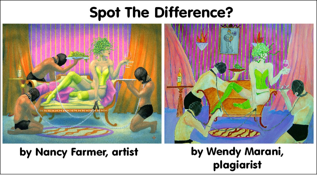 Painting by Nancy Farmer, plagiarism by Wendy Marani