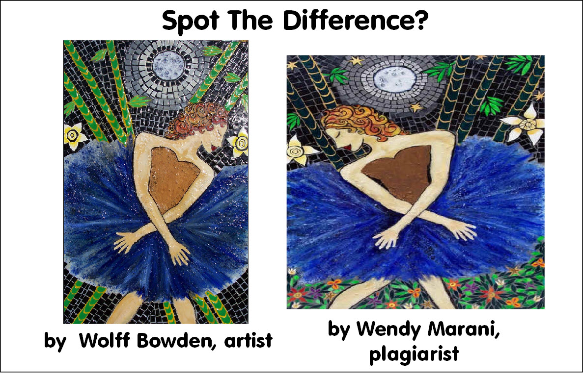 Painting by Wolff Bowden, plagiarism by Wendy Marani