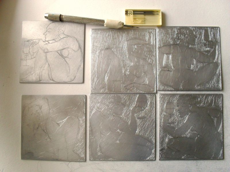 Drypoint plates and pointy tool