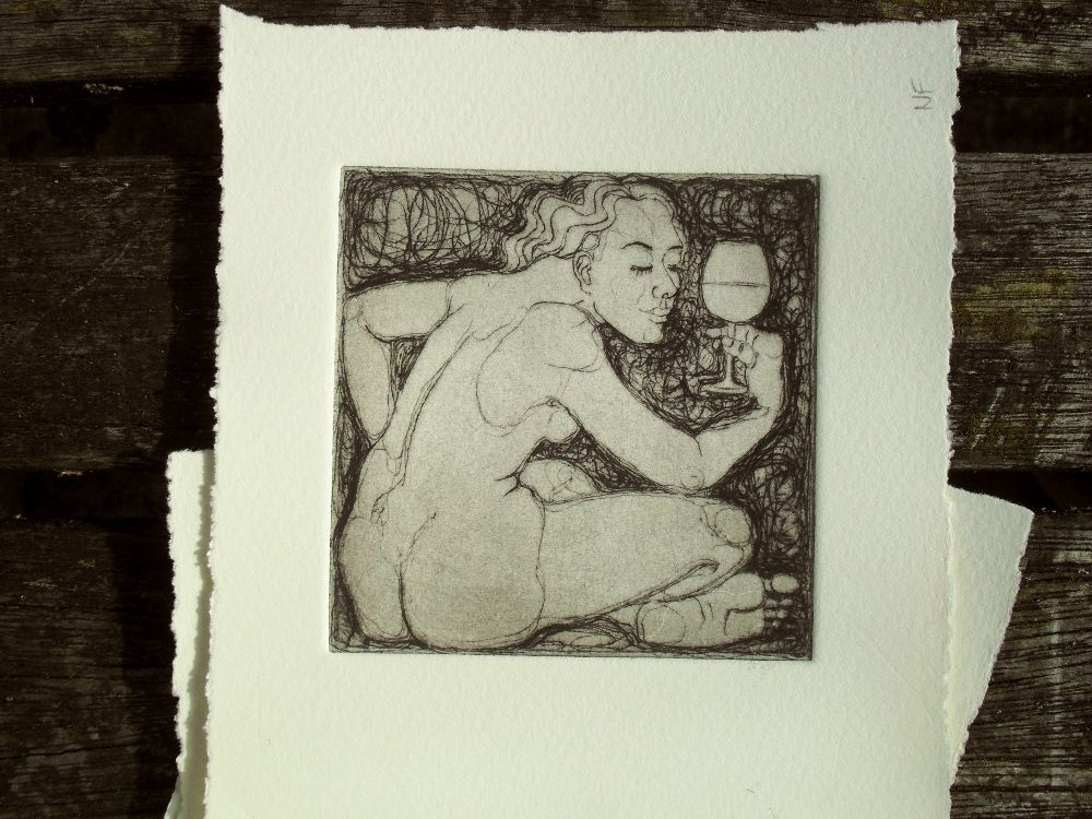 Drinking Nudes - drypiont prints for handmade coasters - 1