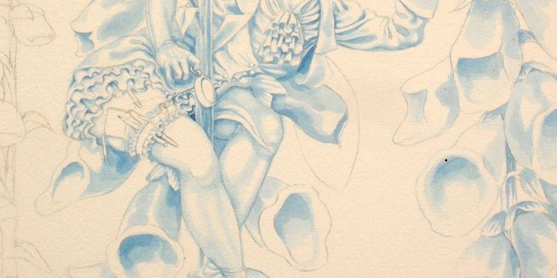 Work in progress on the Foxglove Fairy: close-up of the fairy in blue underpainting