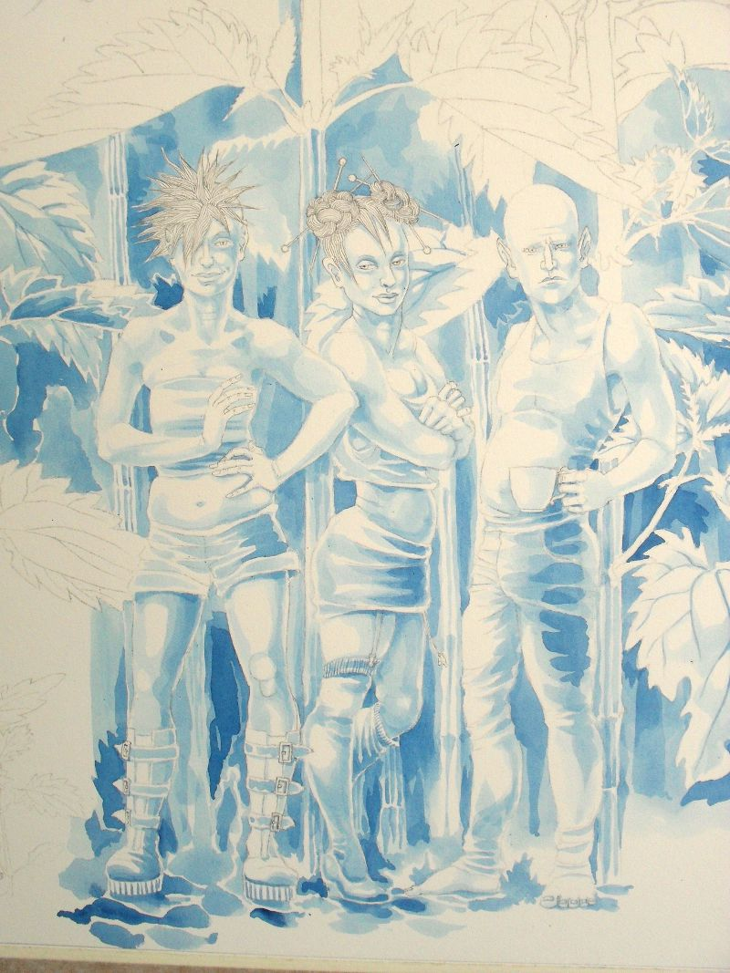 Painting the Stinging Nettle Fairies - underpainting stage