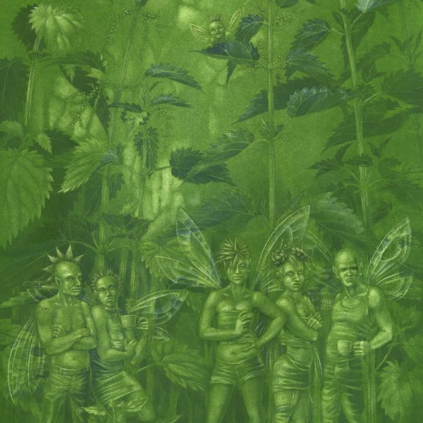 Urtica Dioica, Stinging Nettle Fairies - painting in gouache on paper by Nancy Farmer