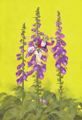 Digitalis Purpurea, the Folglove Fairy - painting in gouache