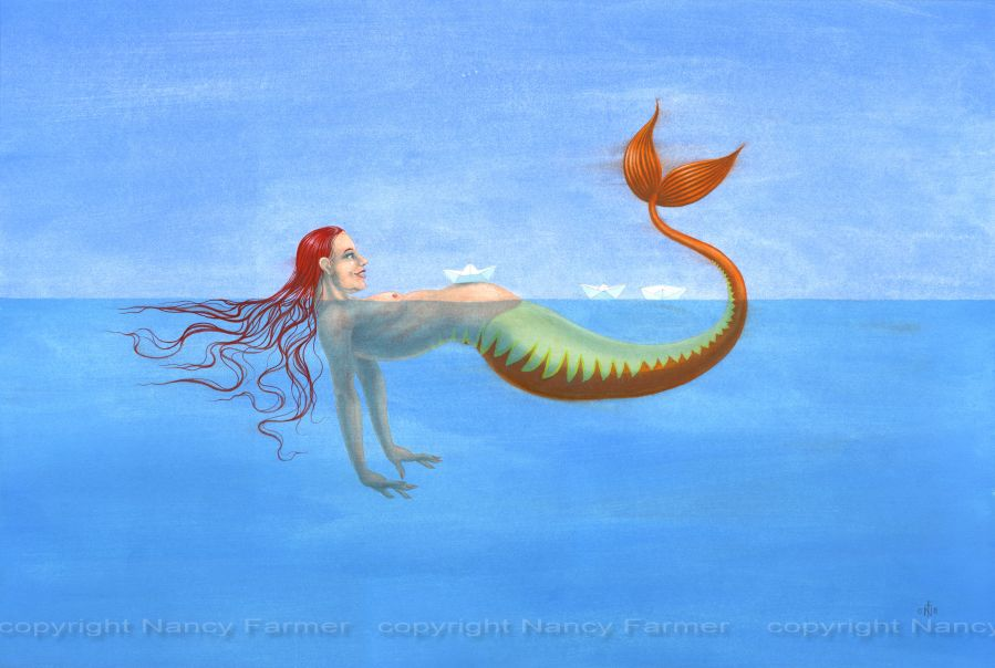 Origami Mermaid 1 - painting by Nancy Farmer