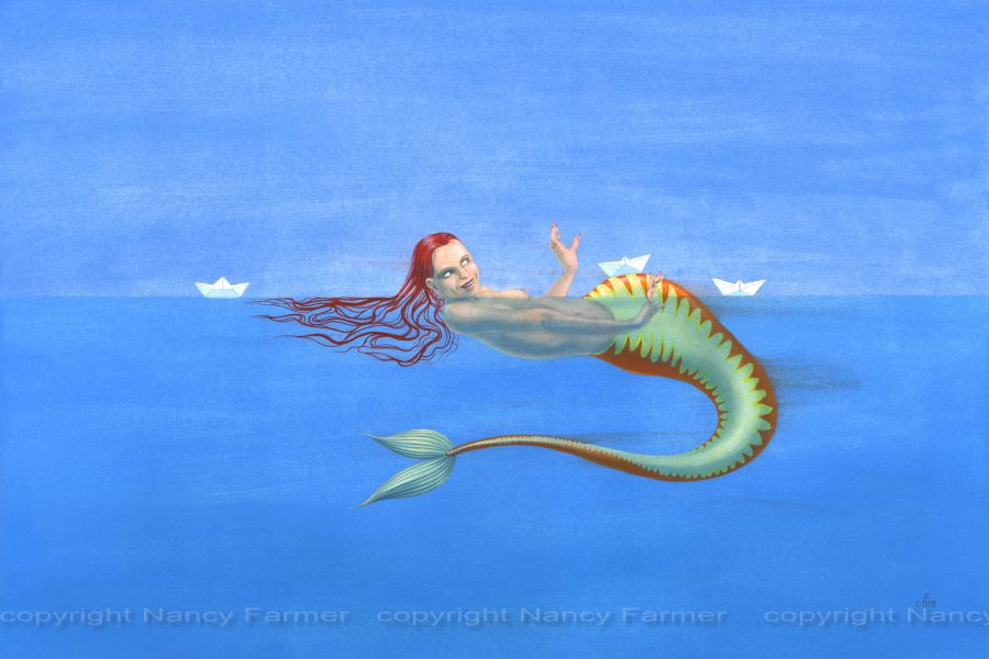 Origami Mermaid 2 - painting by Nancy Farmer