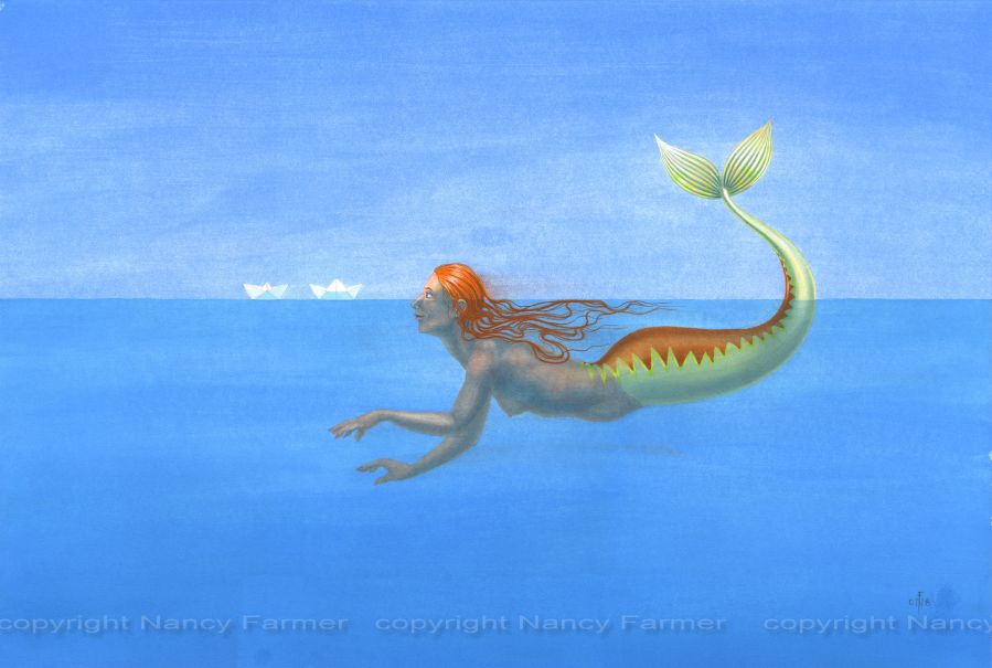 Origami Mermaid 3 - painting by Nancy Farmer