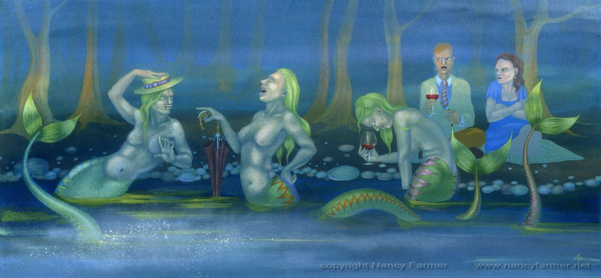 A Romantic Picnic, Spoiled by Mermaids - painting by Nancy Farmer