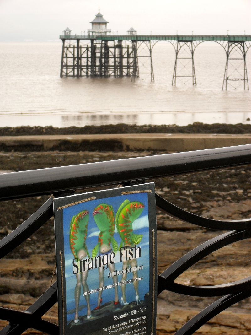 Clevedon Pier and the 'Strange Fish' exhibition poster