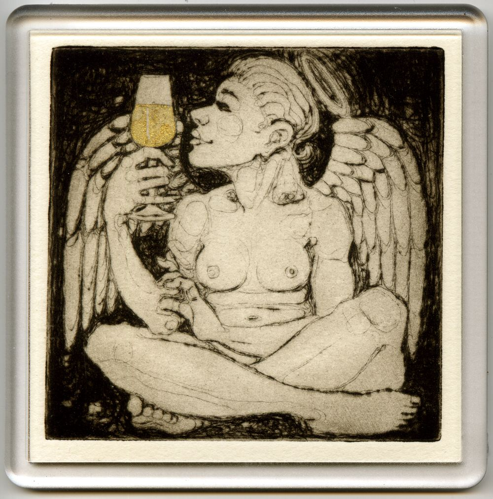 Angelic Champagne 1 - drypoint coaster