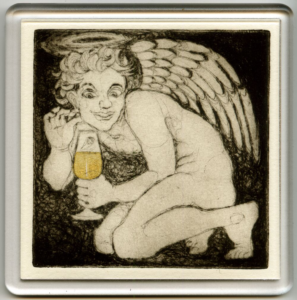 Angelic Champagne 2 - drypoint coaster