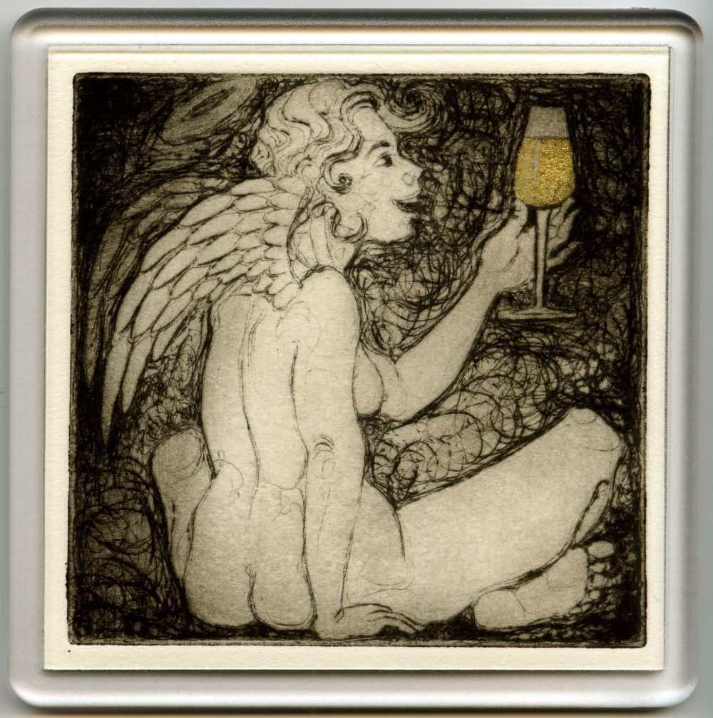 Angelic Champagne 3 - drypoint coaster