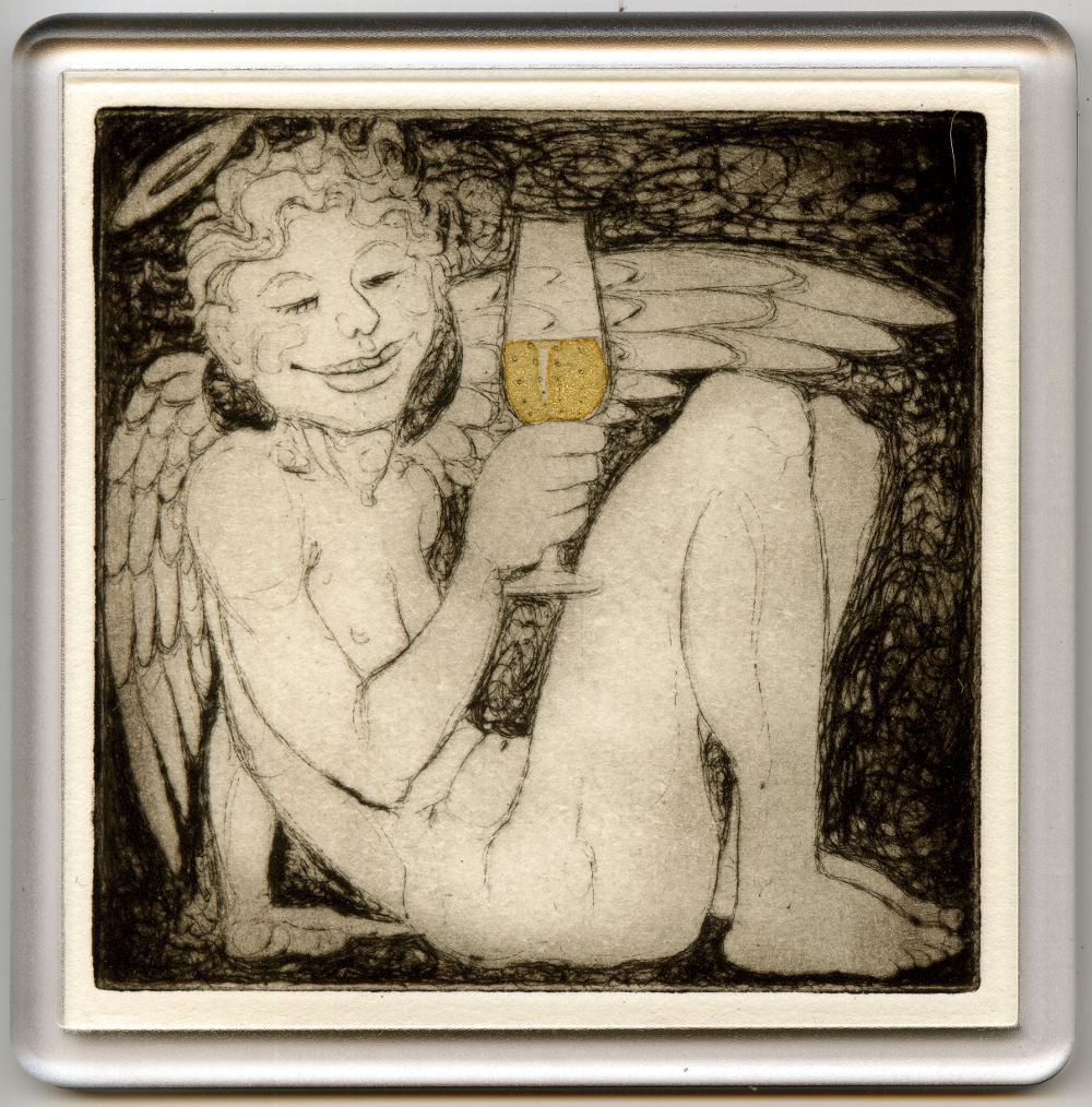 Angelic Champagne 4 - drypoint coaster