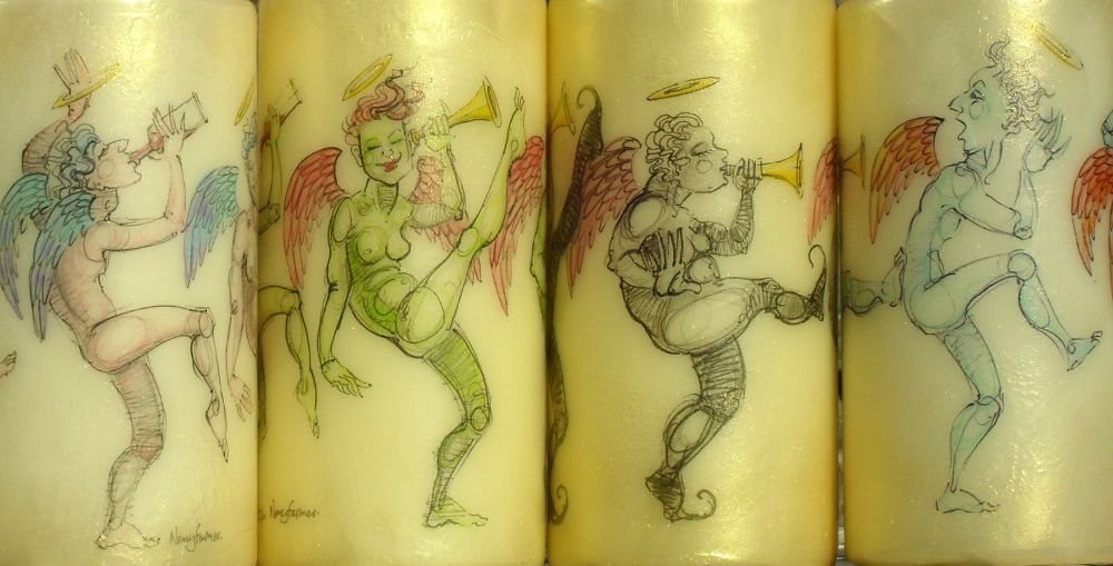 drawings on candles by Nancy Farmer 1a