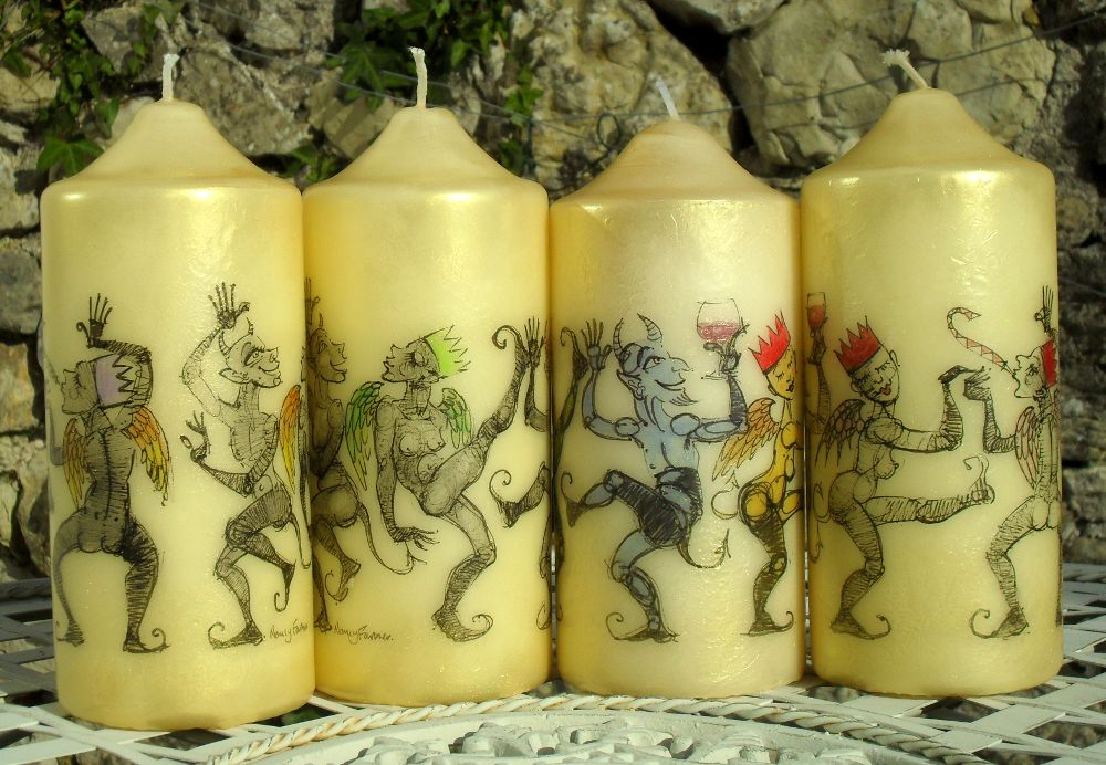 drawings on candles by Nancy Farmer 2