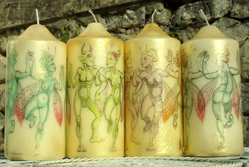 drawings on candles by Nancy Farmer 5