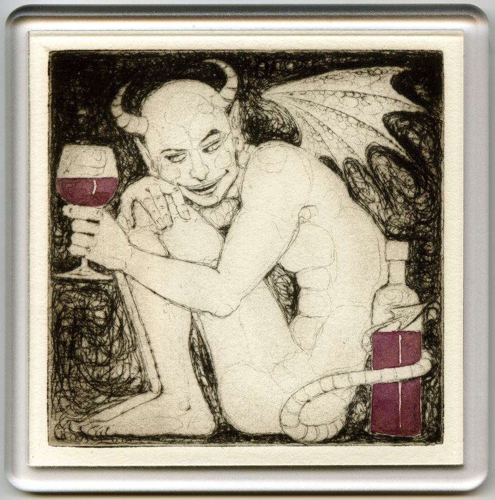 Demonic Wine 3 - drypoint coaster