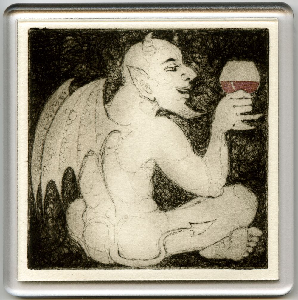 Demonic Wine 5 - drypoint coaster