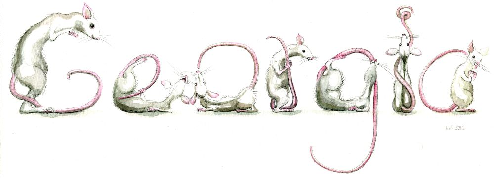Rodent Spelling Animals in watercolour and pencil
