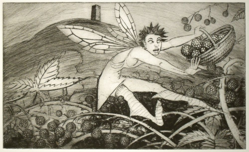 drypoint print - the blackberry harvest
