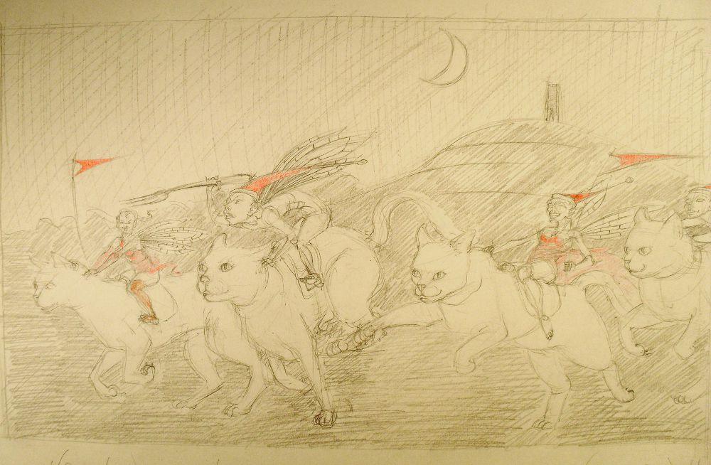 Sketch for The Hunt at Glastonbury Tor