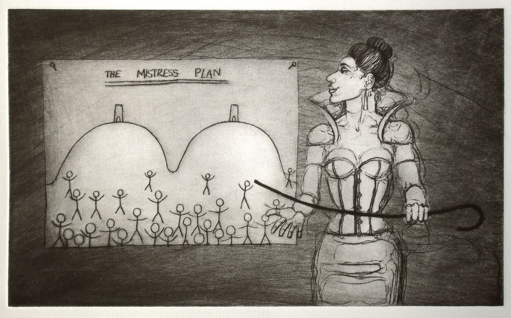 The Mistress Plan - drypoint on aluminium