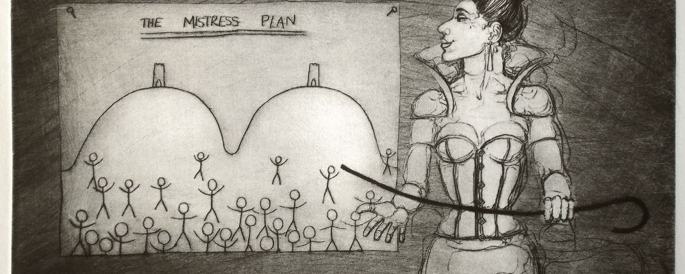 The Mistress Plan - drypoint on aluminium