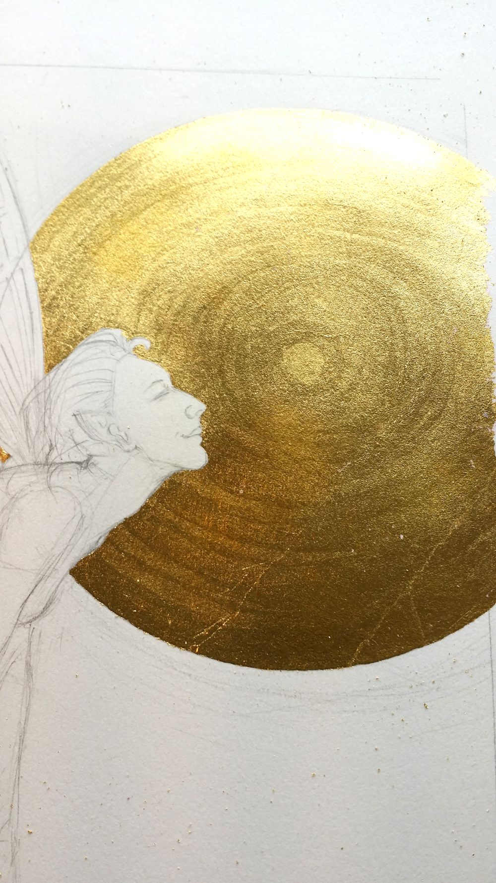 finished gilding on the paper