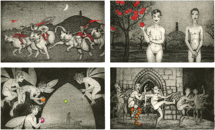 '12 Views of the Tor' - etching and drypoint prints with a little colour added in watercolour.
