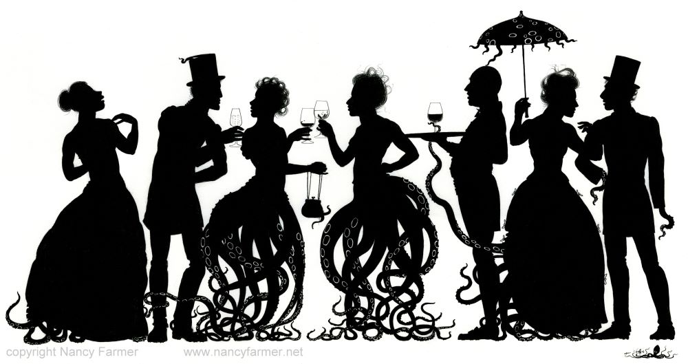 Octoparty - almost pure black and white print