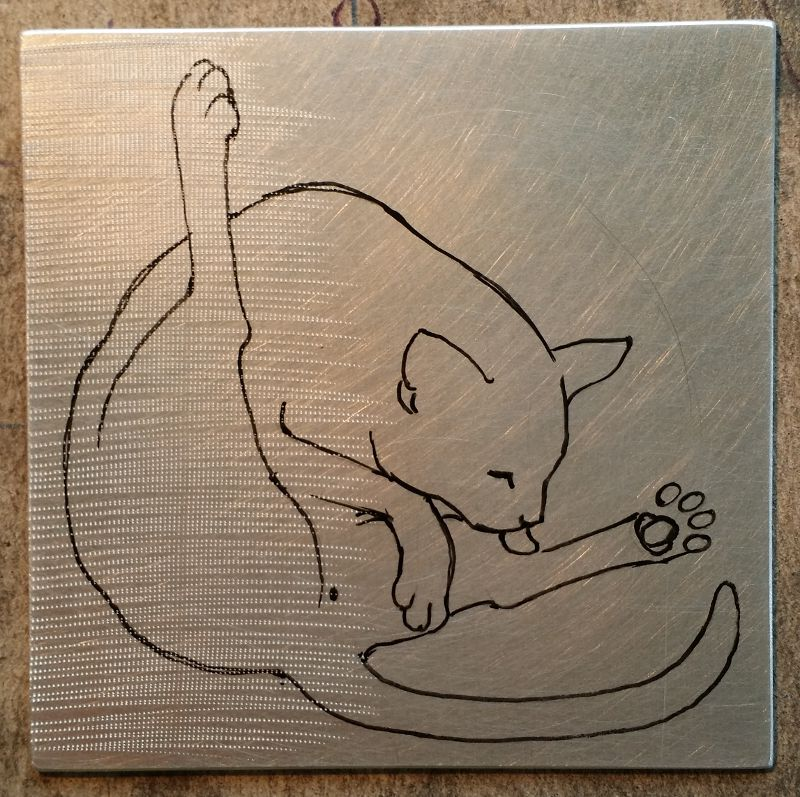 Outline on the aluminium plate