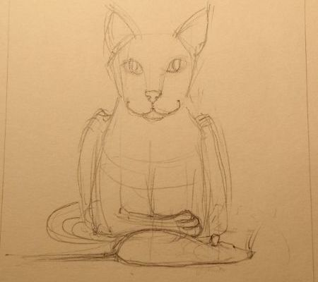 Cat-and-dead-rat sketch 3